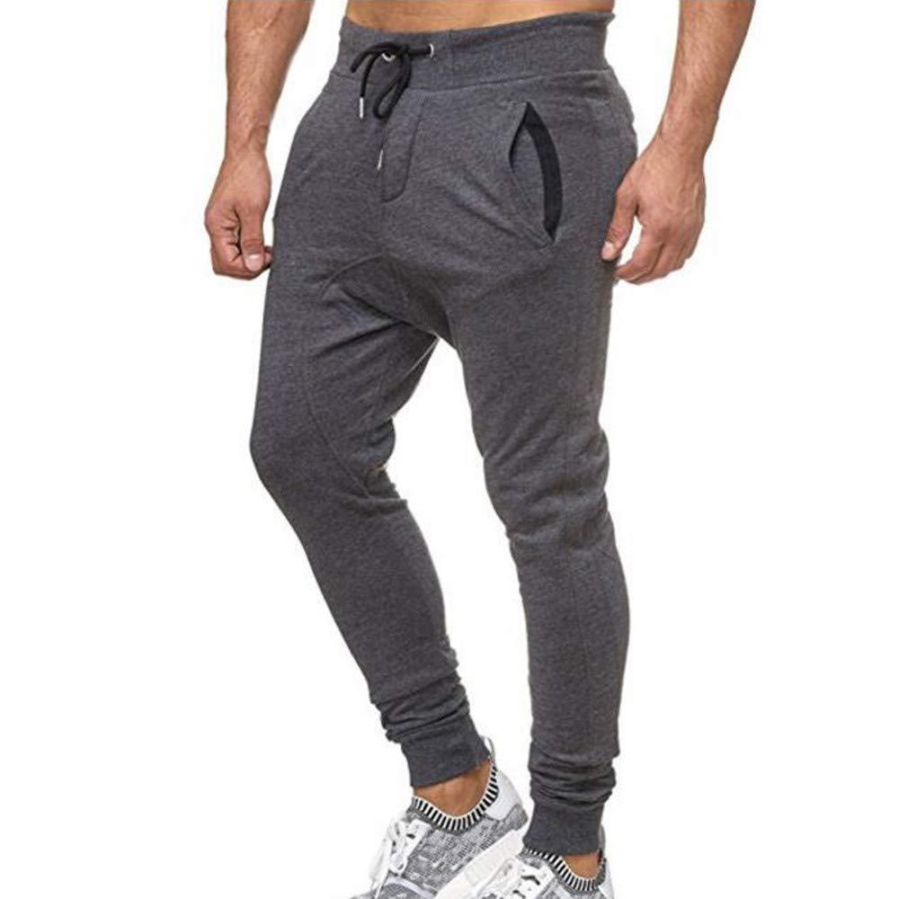 Bestow Pantalones Deportivos Deportivos de los Hombres activanpantalón chándal Flojo Ocasional de la Aptitud de los Hombres