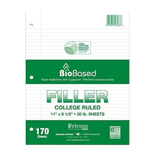 Roaring Spring Paper Products Filler Paper, College Ruled,  11 x 8.5 inches, 20# BioBase Paper