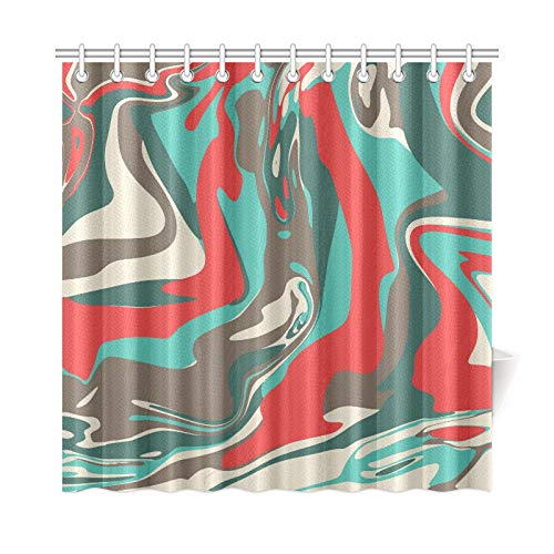 RYUIFI Home Decor Bath Curtain Red Green Camo Marble Wallpaper Colorful Polyester Fabric Waterproof Shower Curtain for Bathroom, 72 X 72 Inch Shower Curtains Hooks Included (Rod Curtain Robert)