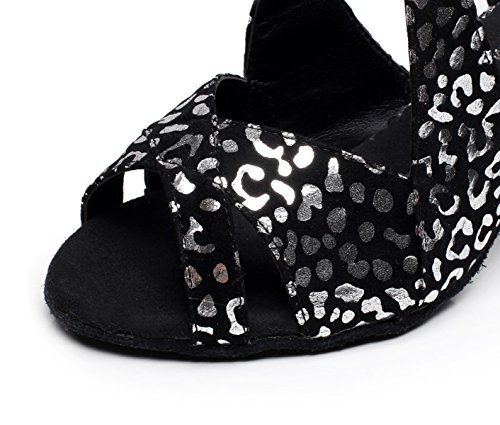 JSHOE Samba Salsa Mujer Tacones Para Jazz Our42 Sandalias Tango Modern heeled6cm Shoes Black Altos UK7 Tea EU41 qBBxrd1t