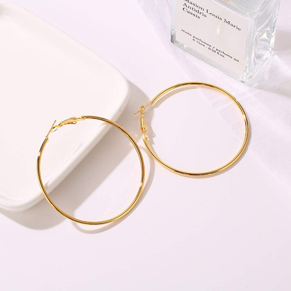 Thank&U 3 Pairs Big Hoop Earrings,Stainless Steel Hoop Earrings 18K Gold Plated Rose Gold Plated Silver for Womens Sensitive Ears(3 Colors Set) (50mm)