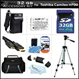 32GB Accessory Kit For Toshiba Camileo X100 H30 HD Camcorder Includes 32GB High Speed SD Memory Card + Extended (1850Mah) Replacement PX1657 Battery + Ac/Dc Travel Charger + 50'' Tripod + Deluxe Case + Mini HDMI Cable + Screen Protectors + More