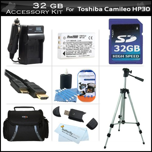 32GB Accessory Kit For Toshiba Camileo X100 H30 HD Camcorder Includes 32GB High Speed SD Memory Card + Extended (1850Mah) Replacement PX1657 Battery + Ac/Dc Travel Charger + 50'' Tripod + Deluxe Case + Mini HDMI Cable + Screen Protectors + More by ButterflyPhoto