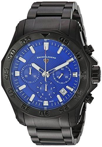 Swiss Legend Men's 'Islander' Swiss Quartz Stainless Steel Casual Watch, Color:Black (Model: 16199SM-BB-33) (Legend Mens Chronograph Swiss)