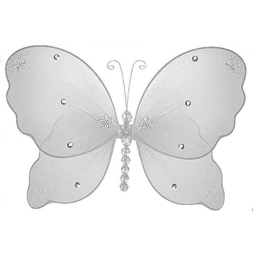 The Butterfly Grove Emily Butterfly Decoration 3D Hanging Mesh Organza Nylon Decor, Plumeria White, Small, 5