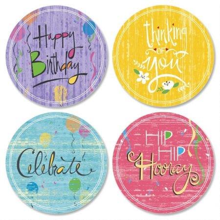 Let's Celebrate Birthday Envelope Seals (4 Designs) - Set of 144 1-1/2 diameter Self-Adhesive, Flat-Sheet Celebration sticker Seals