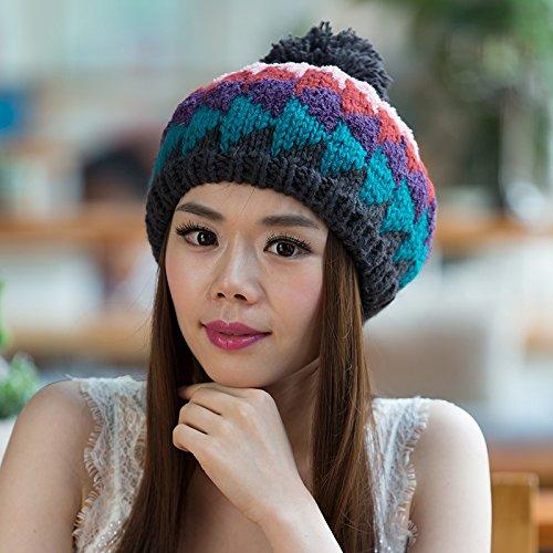 Sombreros Aire al Lana Punto Simple Colores de Coreana Sombrero para Ventilador Libre señoras Invierno de Mezclados Salvaje NAVYBLUE de Maozi Orange versión WqOBw6gY