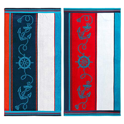 - Superior Sailing Egyptian Cotton Oversized Reversible Beach Towel Set, Multicolor, 2-Piece