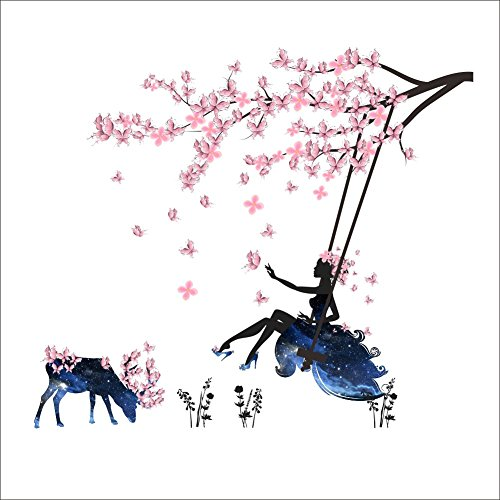 Gofan Removable Flower Fairy Living Room Bedroom Kids Room Decal Wall Sticker