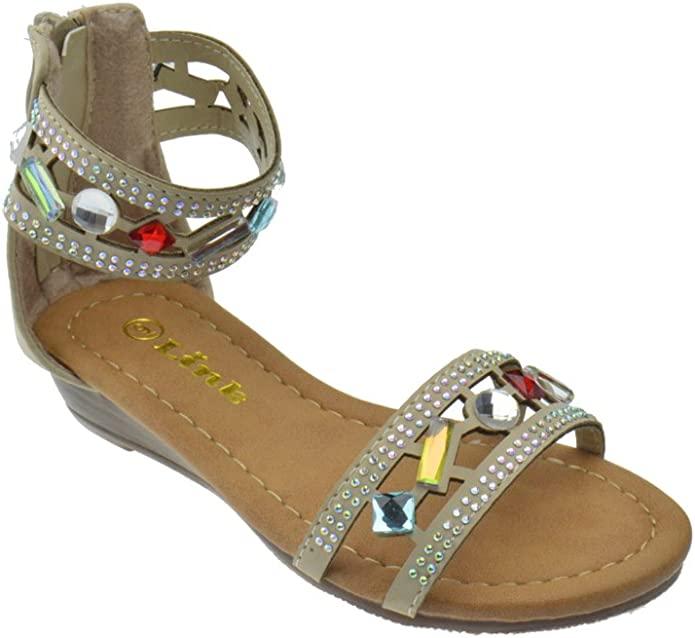 Link Filosia Little Girls Rhinestone Strappy Open Toe Low Heel