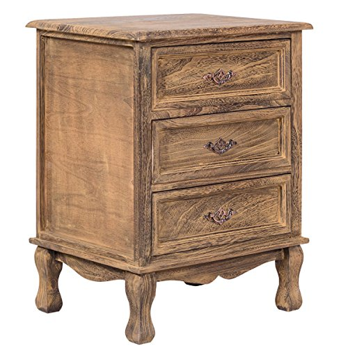 Bedroom Vintage Cabinet - Giantex 3 Drawers Nightstand End Table Storage Wood Cabinet Bedroom Side Storage (1, Wood)