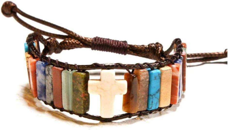 Piedra natural colorida pulsera de cuentas creativo Piel trenzada pulsera unisex