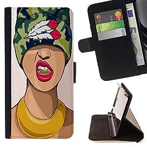 King Case - FOR LG OPTIMUS L90 - have everything but her - Prima caja de la PU billetera de cuero con ranuras para tarjetas, efectivo Compartimiento desmontable y correa para la mu?eca