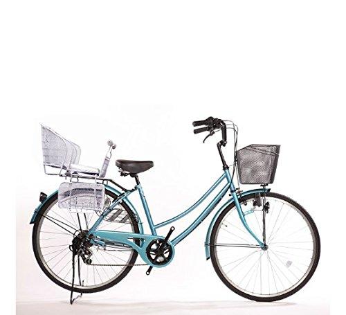 Lupinusルピナス 自転車 26インチ LP-266UD-KNR-S 軽快車 シマノ外装6段ギア ダイナモライト 後子乗せシルバー B073LQ6WGMライトブルー