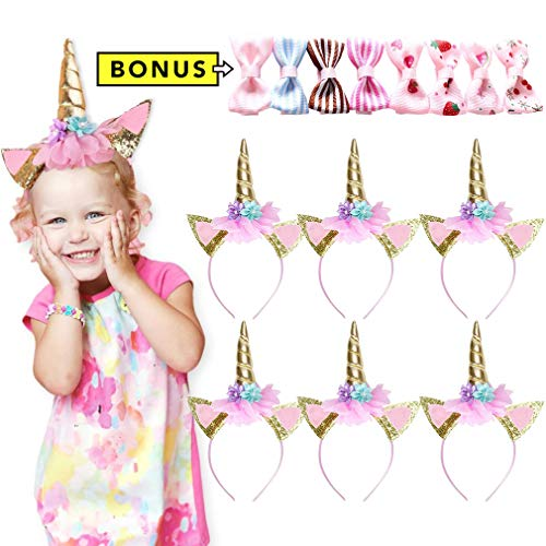 KOROBeauty 6pcs Unicorn Headband Party Supplies Gift Favors Horn Gold Halloween Costume Girls Rainbow]()