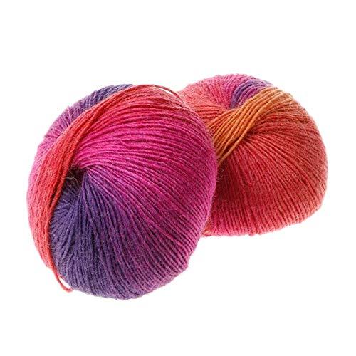(Top Tricot - 1ball 50g Hand Woven Rainbow Colorful Crochet Cashmere Wool Blend Diy Yarn Knitting - Heather Hook Turquoise Stripes Dark Firecracker Blue Party Soft Royal Medium Rainbow Croc)