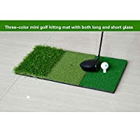 FUNGREEN Golf Hitting Mat 3 Grasses Combined Practice Mat Rubber Tee Holder Indoor and Outdoor Backyard Hitting Pad