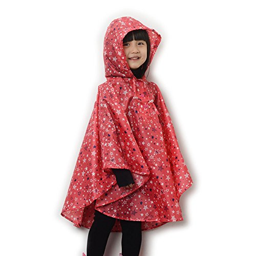 Dopobo Fashion Stylish Stars Hooded Raincoat Lovely Cute Rain Jacket Rainwear Poncho Fast Dry for Children Kids (red, M)