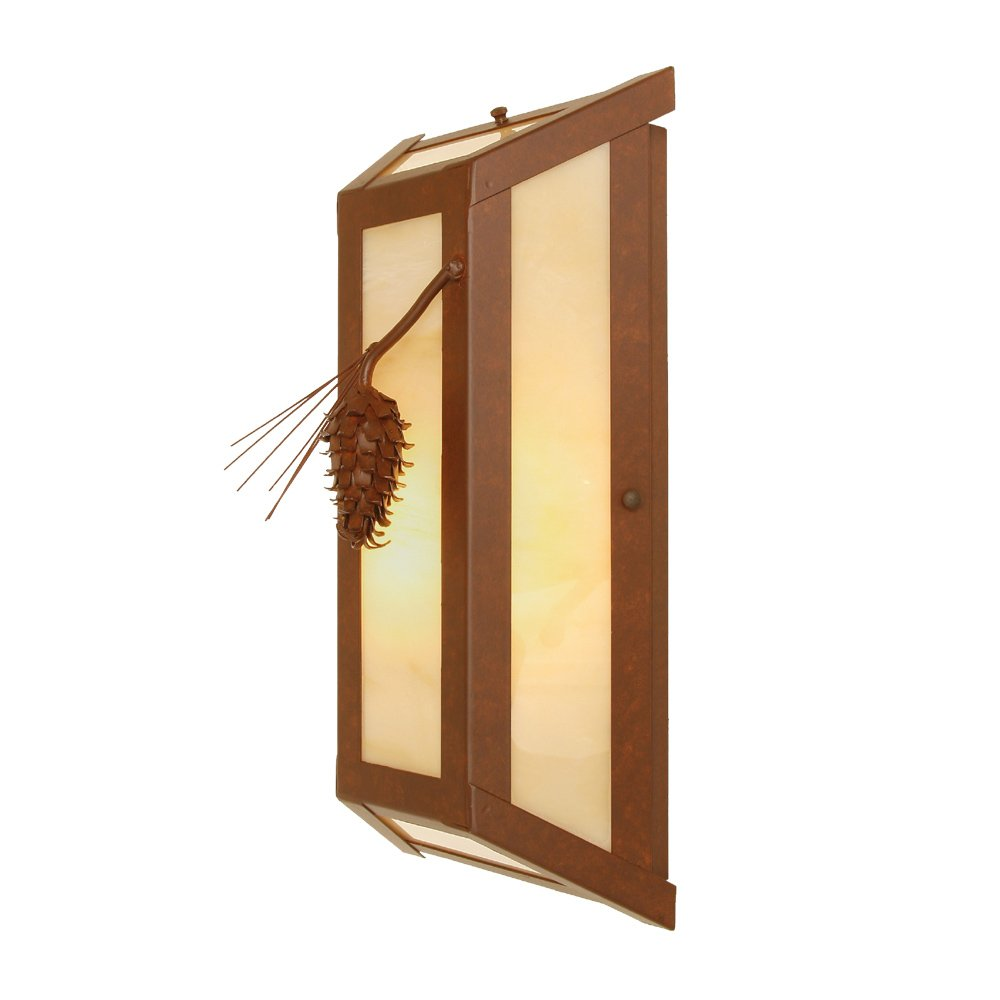 Architectural Bronze Finish Steel Partners Lighting 2380-65-AB LONE PONDEROSA PINE Wall Sconce with Amber Mica Lens