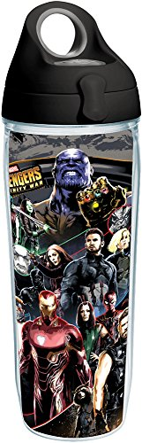 (Tervis 1293721 Marvel-Avengers Infinity War Insulated Tumbler with Wrap and Black with Gray Lid, 24 oz Water Bottle, Clear)