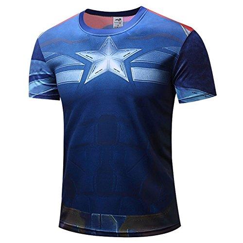 Mens Dri-Fit Short Sleeve Captain America Running Shirts Cool Costume Shirt M -