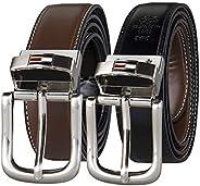 Cinto de couro reversível Tommy Hilfiger – Casual para homens Jeans com alça dupla face e fivela prata