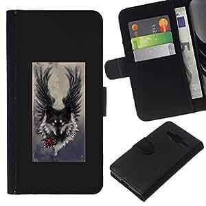 All Phone Most Case / Oferta Especial Cáscara Funda de cuero Monedero Cubierta de proteccion Caso / Wallet Case for Samsung Galaxy Core Prime // Angel Grey Hound Dog Romantic