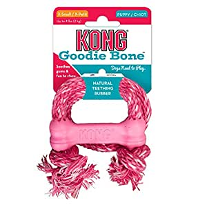 Kong Puppy Goodie Bone Treat Toy with Rope (X-Small)