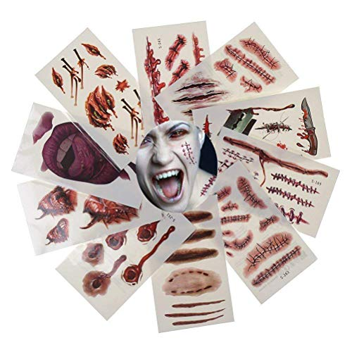 (IYSHOUGONG 20 Pcs Halloween Zombie Scars Vampire Tattoo Decals Scratch & Stitched Wounds Temporary Tattoos Makeup For Halloween Party Prop Cosplay Costumes Party Cosplay)
