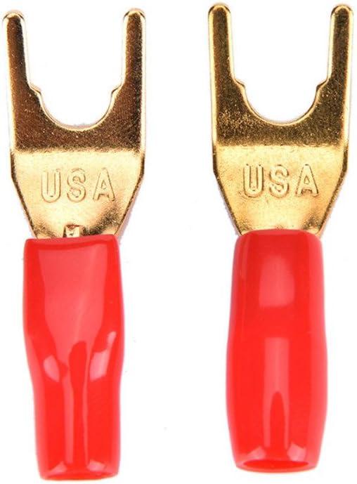 4 X Kabelschuhe High End Lautsprecher Gabelschuhe 4mm Gabelstecker Vergoldet Baumarkt