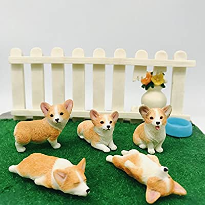 5-Pack Pembroke Welsh Corgi Sculpture Figurine Toy, Hand-Made and Painted Pet Portrait Dog Statue Ornament Memorial Decoration, Corgi Collectibles, Pembroke Welsh Corgi Art