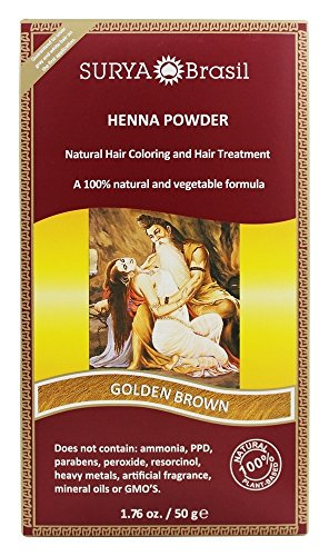 Golden Brown Henna - Surya Brasil - Henna Powder Natural Hair Coloring Golden Brown - 1.76 fl. oz.