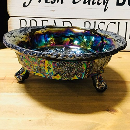 Carnival Glass Style FOOTED BUTTERFLY BOWL with Berry Pattern - Carnival Glass Candy