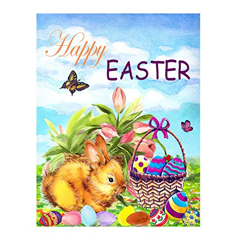 Wamika Happy Easter Bunny Eggs Basket Lilies Flowers Double Sided House Flag Garden Banner 28