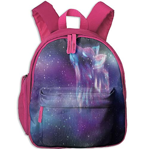 (Haixia Child Boys'&Girls' Bookbags with Pocket Fantasy Psychedelic Northern Starry Sky with Spirit of A Wolf Aurora Borealis Display Full Blue Purple)