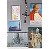 Saint Benedict 3 Crucifix Purple Wood Rosary Blessed by Pope John Paul II on 8/17/2002
