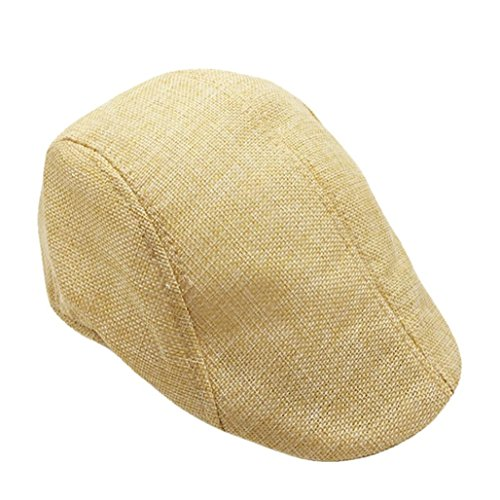 5fc4fafe Vertily Hat Men Women Breathable Beret Flat Bill Plain Solid Newsboy Peaked  Cap (Beige)