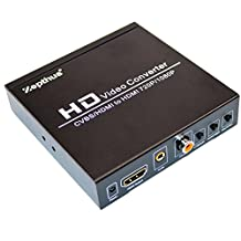 Zepthus 1080P 3RCA AV CVBS Composite Video L/R Audio or HDMI to HDMI Converter Box Adapter with Coaxial and 3.5mm Audio Output Upscaler Supports PAL/NTSC
