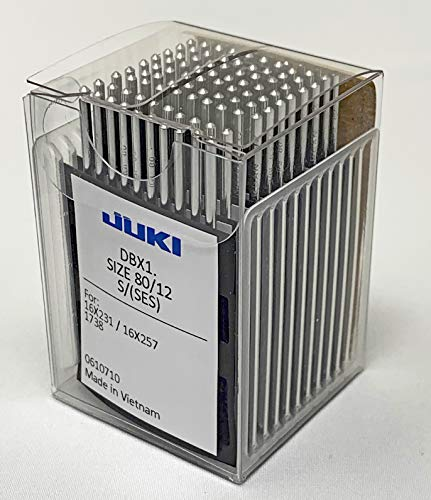 Juki Brand – Industrial Sewing Machine Ball Point Needles (Size 12) – for Straight Stitch/Single Needle Industrial Sewing Machines – (Box of 100 Needles) Juki Genuine Part – for Professional Use.