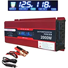 2000W (1000 watts continuous) Power Inverter for Home Car RV with 2 AC Outlets Power Converter 12V DC to 110V AC Inverter (Cigarette lighter adapter for device under 150W)