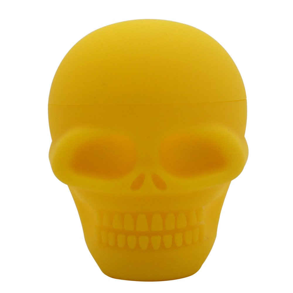 YHSWE 1PCS 500ml Biggest Skull Shape Non-stick Silicone Dab Container Wax Jar Oil Box Stoarge Canister (Yellow)