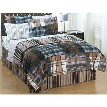 jay franco bentley plaid full comforter bed in a bag set bentley plaid home kitchen. Black Bedroom Furniture Sets. Home Design Ideas
