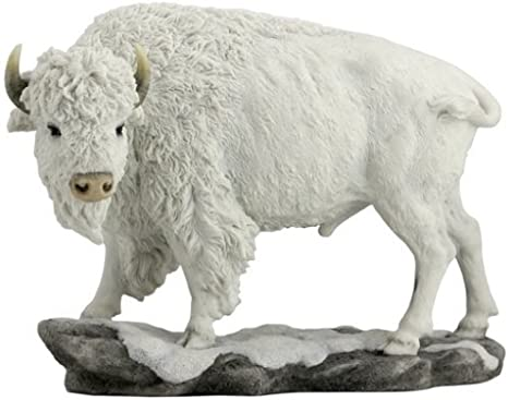 10 75 White Bison Animal Statue Decor Wildlife Buffalo Figurine Sculpture Everything Else