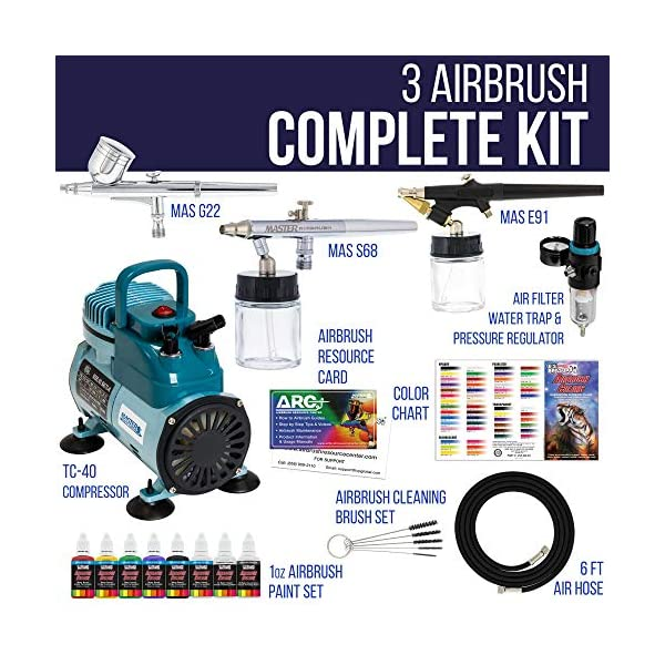 Master-Pro-Airbrush-Multi-Purpose-Airbrushing-System-with-3-Airbrushes-6-US-Art-Supply-Primary-Colors-Acrylic-Paint-Set-Cool-Running-Air-Compressor-Color-Mixing-Wheel-Usage-Guide-Brushes