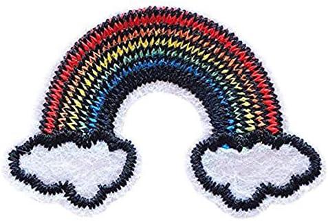 虹 ワッペン 刺繍 アイロン接着 縦2.8cm×横4.2cm レインボー アップリケ アイロンワッペン ミニワッペン 手芸 かわいい