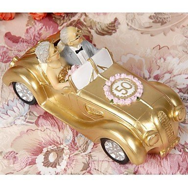 VANVENE Cake Toppers Golden Marriage Couples in A Golde Car 50th Anniversary Cake Topper