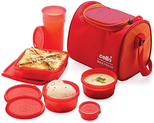 Cello Max Fresh Sling 5 Container Lunch Box With Bag ,Orange