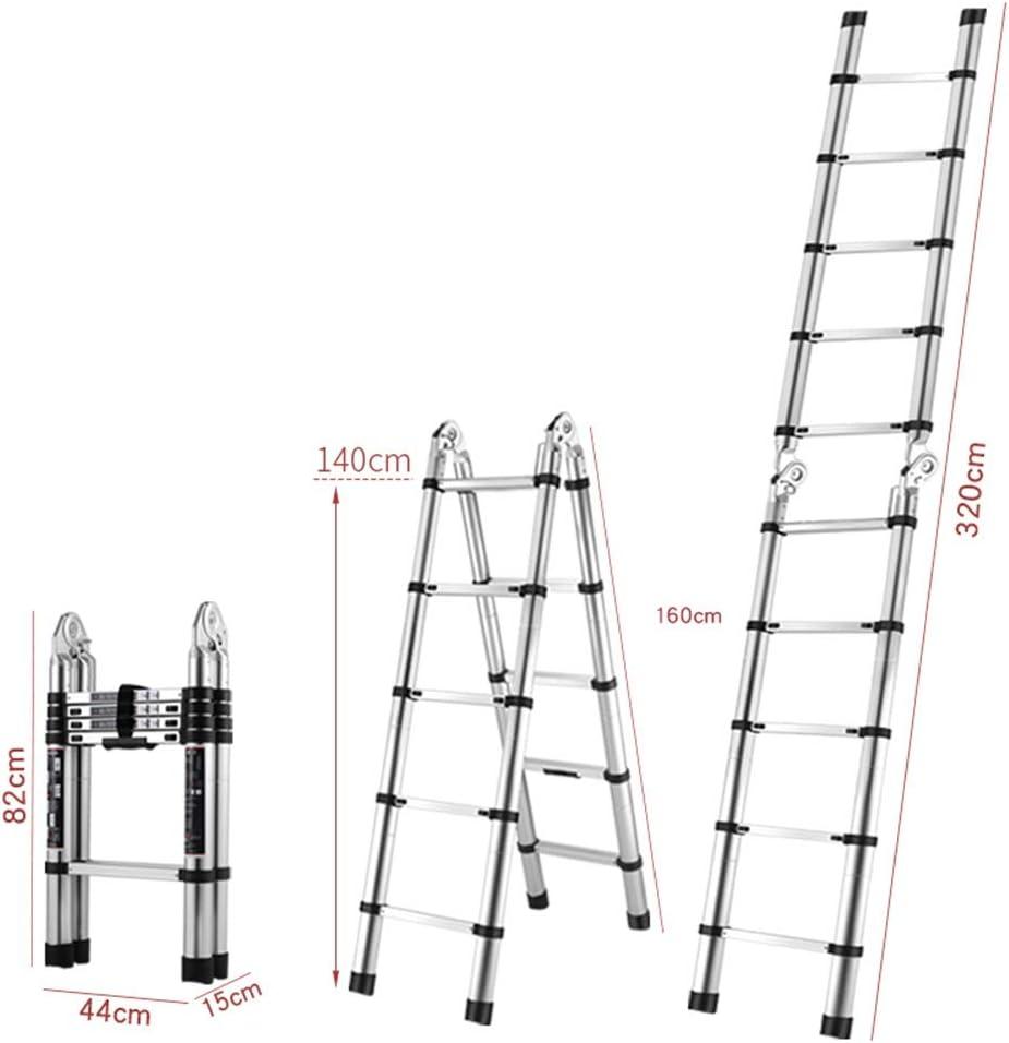 Escaleras telescópicas Escalera telescópica de aluminio Diseño de junta grande Extensión extensible Escalera de tijera for trabajos al aire libre Renovación interior Capacidad de cojinetes: 330 lb: Amazon.es: Hogar