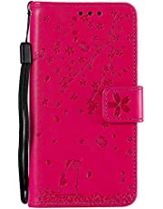 Miagon Embossing Case for Samsung Galaxy S10 Plus,Premium Leather Flip Wallet Cover with Butterfly Cat Flower Pattern Design,Rose Red