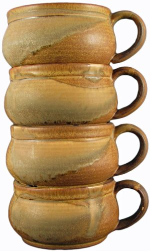 Set Of (4) Four - PRADO STONEWARE COLLECTION - Stacking/Stackable Soup, Chili, Stews Cups/Mugs/Bowls - Rustic Brown